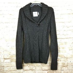 H&M Women's Shawl Collar Cable Knit Tunic Sweater